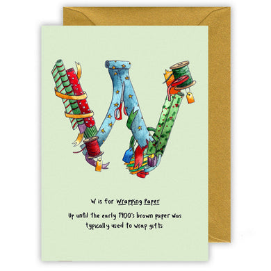 w is for wrapping paper alphabet letter w personalised  christmas card