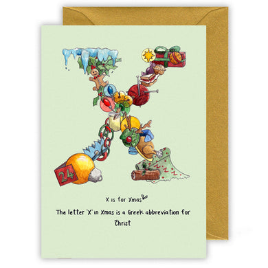 x is for xmas alphabet letter x personalised christmas card