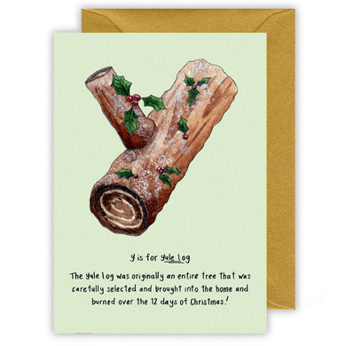 y is for yule log alphabet letter y personalised christmas card