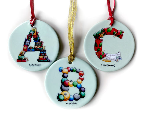 personalised Christmas tree decorations name beginning with letter a b c