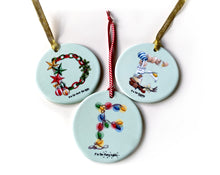Load image into Gallery viewer, personalised ceramic Christmas tree ornaments gift idea for children
