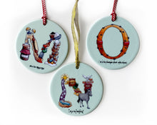 Load image into Gallery viewer, round alphabet ceramic christmas tree ornaments
