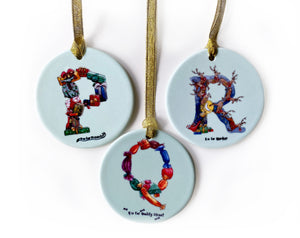 the christmas alphabet personalised Christmas tree decorations name beginning with letter p q r