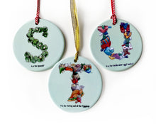 Load image into Gallery viewer, personalised christmas gift idea for a family alphabet tree decorations