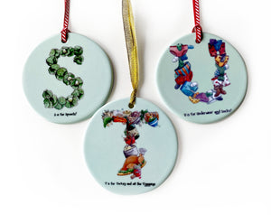 personalised christmas gift idea for a family alphabet tree decorations