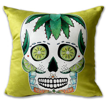 Load image into Gallery viewer, lime green margarita cocktail sugar skull cushion
