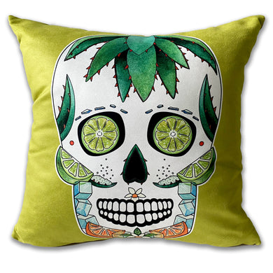 lime green margarita cocktail sugar skull cushion