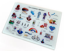 Load image into Gallery viewer, the lockdown alphabet glass chopping board 2020 gift idea for him