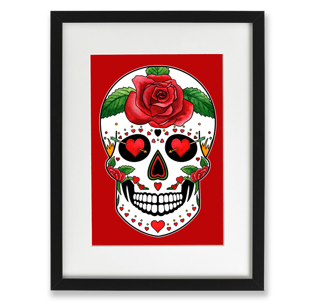 day of the dead wall art valentines day skull gift for her