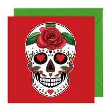 Load image into Gallery viewer, love heart red sugar skull greeting card for valentines day or anniversaries