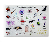 Load image into Gallery viewer, the magical alphabet tempered glass cutting board witches gift idea