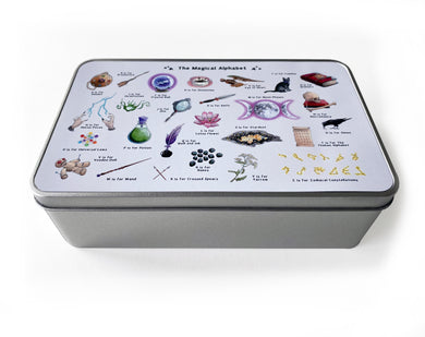 the magical alphabet storage tin