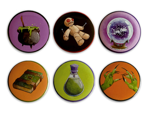 set of 6 halloween badges spooky gift idea for her