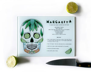 mexican sugar skull margarita cocktail recipe cutting board