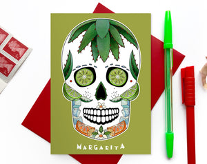 mexican skull cocktail lover birthday card for her