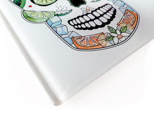 'The Margarita Skull' Glass Cutting Board