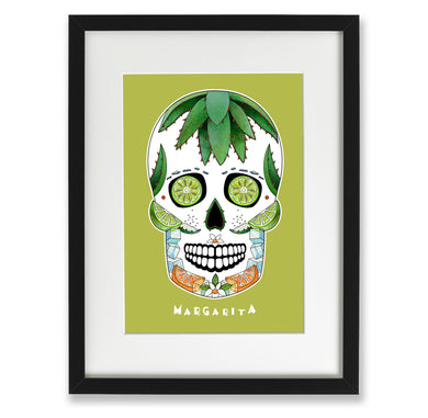 margarita cocktail inspired sugar skull art print