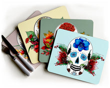 Load image into Gallery viewer, set of four mexican sugar skull placemats