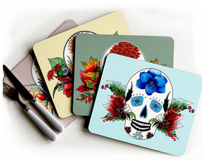 set of four mexican sugar skull placemats