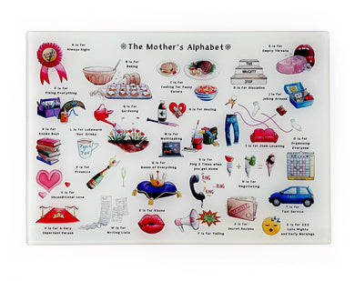 the mother's alphabet glass cutting board. Mother's Day gift ideas for mums who love to cook