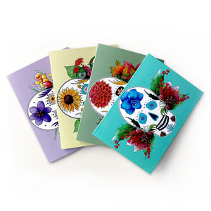 day of the dead seasonal sugar skull note cards