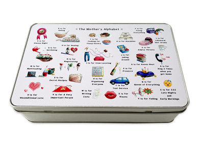 the mothers alphabet keepsake storage tin. Mother's day gift idea