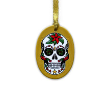 Load image into Gallery viewer, mustard sugar skull christmas tree decoration, gothic christmas gift idea for her
