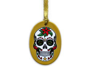 mustard sugar skull christmas tree decoration, gothic christmas gift idea for her