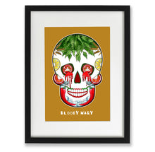 Load image into Gallery viewer, mustard sugar skull wall art, day of the dead mexican print