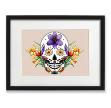 Load image into Gallery viewer, pastel goth spring inspired mexican skull wall art