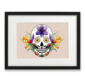 pastel goth spring inspired mexican skull wall art
