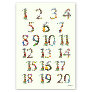 Numbers 1 to 20 children's wall chart educational learning
