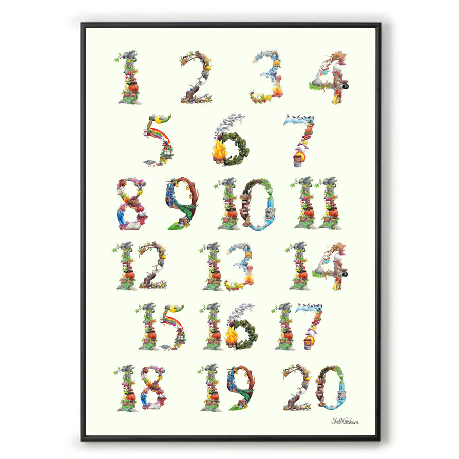 Educational poster chart numbers 1 to 20