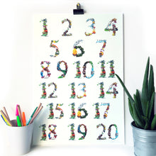 Load image into Gallery viewer, kids wall art numbers chart