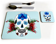 Load image into Gallery viewer, blue winter sugar skull placemat