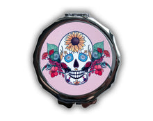 Load image into Gallery viewer, 'Seasonal' Sugar Skull Compact Mirror