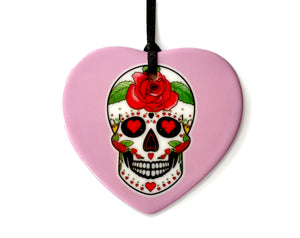 pink sugar skull love heart ornament. gothic gift idea for valentines day