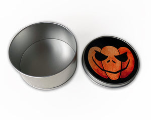 trick or treat halloween candy storage tin