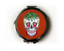 Load image into Gallery viewer, red mexican skull compact mirror. Gothic gift idea for her