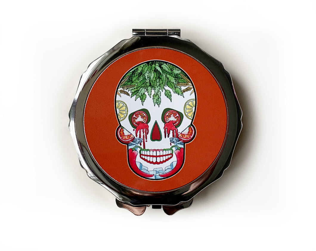 red mexican skull compact mirror. Gothic gift idea for her