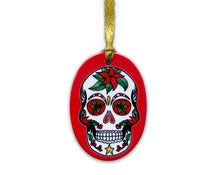Load image into Gallery viewer, red skull christmas decoration, vibrant gothic home decor