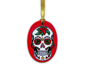 red skull christmas decoration, vibrant gothic home decor