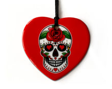 Load image into Gallery viewer, red sugar skull heart shaped decoration
