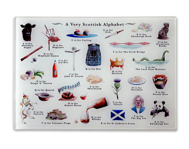a very scottish alphabet temepered glass cutting board foodie gift idea for her