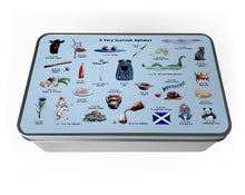 Load image into Gallery viewer, scottish alphabet shortbread shortage tin gift idea for scotland family