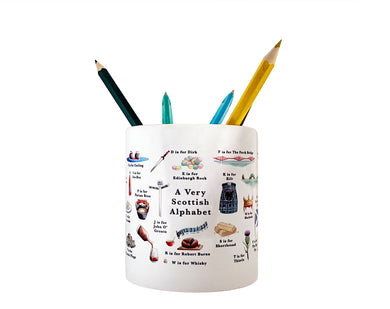 a very scottish alphabet ceramic pencil pot gift idea for coworker