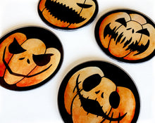 Load image into Gallery viewer, set of 4 jack o lantern coasters for halloween