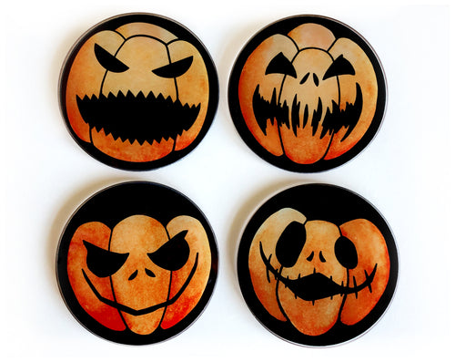set of 4 pumpkin coasters great for halloween