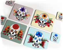Load image into Gallery viewer, set of 4 skull placemats with matching coasters retro colours gothic home decor