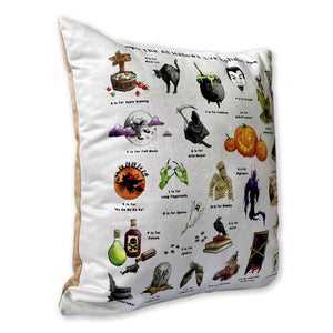 side view of the halloween alphabet cushion